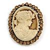 Vintage Inspired Citrine Crystal Beige Cameo Brooch In Antique Gold Tone - 45mm L