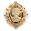 Vintage Inspired Clear Crystal Oval Beige Acrylic Cameo In Gold Tone Metal - 60mm L