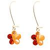 Amber Coloured Daisy Drop Earrings