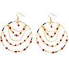 Gold Hot Red Serpentine Costume Hoop Earrings