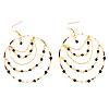 Gold Jet-Black Serpentine Costume Hoop Earrings