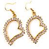 Open Crystal Heart Dangle Costume Earrings
