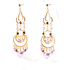 Pink Swinging Imitation Pearl Chandelier Earrings