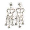 Clear Diamante Bow Chandelier Earrings