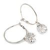 Silver Tone Hoop Earrings With Dangle CZ  Crystal (3cm Diameter)