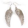 Silver Tone Clear Crystal Wing Earrings - 65mm L