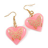 Pink Plastic Heart Drop Earrings