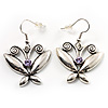 Vintage Silver Tone Butterfly Drop Earrings