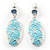 Rhodium Plated Crystal Oval Drop Earrings (Sky Blue)