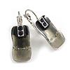 Small Square Enamel Glittering Drop Earrings (Grey)