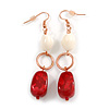 Fancy Bead Drop Earrings (Red&White)