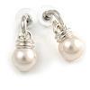 Silver Tone White Glass Bead Drop Earrings