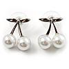 Snow White Imitation Pearl Cherry Stud Earrings (Silver Tone)