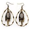 Vintage Crystal Bird Hoop Earrings (Antique Gold)