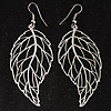 Filigree Leaf Drop Earrings (Silver Tone)