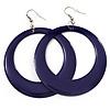 Large Deep Purple Enamel Hoop Drop Earrings (Silver Metal Finish) - 6.5cm Diameter