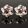 Textured Fuchsia Diamante Floral Stud Earrings (Silver Tone)