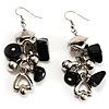 Black Glass Bead Drop Earrings (Silver Tone)