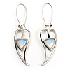Contemporary Crystal Leaf Drop Earrings (Silver Tone)