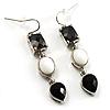 Striking CZ Drop Earrings (Silver Tone)