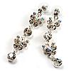 Long Drop Crystal Butterfly Earrings (Silver&Clear)