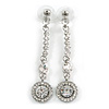Stylish Clear Crystal Drop Earrings (Silver&Clear)