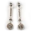 Stylish Clear Crystal Drop Earrings (Silver&Clear)