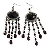 Black Bead Chandelier Earrings (Black Tone)