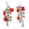 Long Red Glass Bead Drop Earrings (Silver Tone)