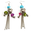 'Love' Heart Tassel Bead Drop Earrings(Silver Tone)