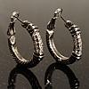 Rhodium Plated Twisted Crystal Hoop Earrings (25mm Diameter)