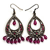 Antique Silver Purple Bead Floral Chandelier Earrings