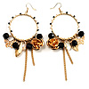 Large Hoop Charm Earrings (Gold Tone)