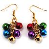 Gold-Tone Multicoloured Metal Bead Drop Earrings