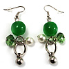 Green Bead Drop Earrings (Silver Tone)