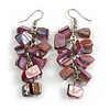 Purple Shell Composite Cluster Dangle Earrings (Silver Tone)