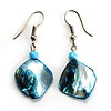 Light Blue Shell Bead Drop Earrings (Silver Tone)
