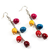 Funky Multicoloured Acrylic Bead Drop Earrings - 9cm Drop (Silver Tone)