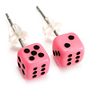 Tiny Bright Pink Plastic Dice Stud Earrings (Silver Tone) -5mm Diameter