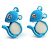 Tiny Diamante Mouse Enamel Stud Earrings (Light Blue & White)