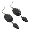 Black Tone Acrylic Drop Earrings - 7cm Drop