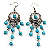Antique Silver Tone Turquoise Bead Drop Earrings - 8cm Drop