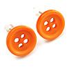 Small Orange Plastic Button Stud Earrings (Silver Tone) -11mm Diameter
