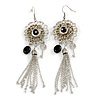 Two Tone Long Filigree Flower, Tassel & Key Drop Earrings - 11cm Drop