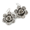 Silver Tone Textured Floral Drop Earrings - 5.5cm Drop