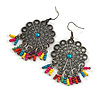 Floral Filigree Beaded Drop Earrings (Antique Silver) - 6cm Drop