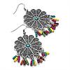 Floral Filigree Beaded Drop Earrings (Antique Silver) - 6cm Drop