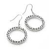 Medium Silver Tone Crystal Hoop Earrings - 2.8cm Diameter