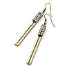 Vintage Crystal Bar Drop Earrings (Bronze Tone) - 7.8cm Drop