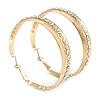 Large Gold Plated Crystal Hoop Earrings - 6cm Diameter